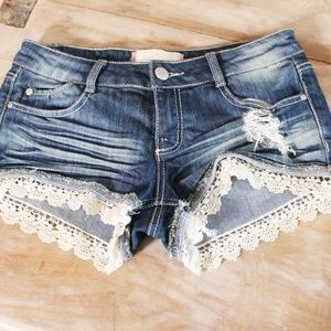 Almost Famous Jean Distressed Shorts w lace trim 7